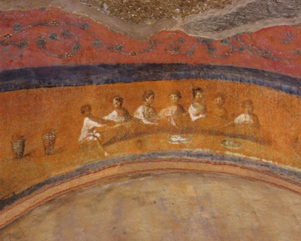 Women celebrating Eucharist in Catacomb of St. Priscilla in Rome. (Bridget Mary's Blog)