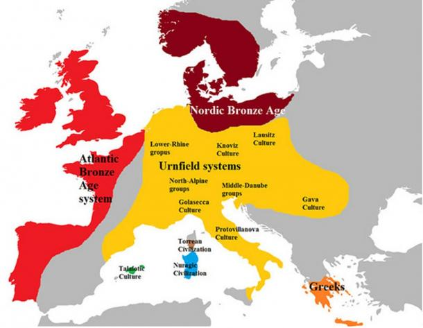 Europe in the late bronze age of about 1100 BC.