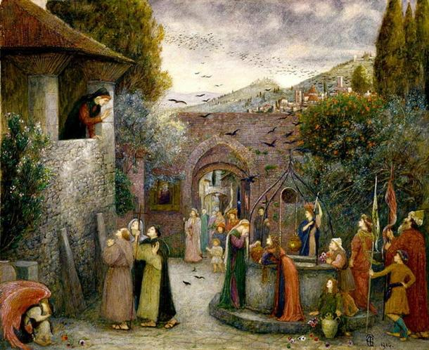 Painting depicting European pilgrims of the middle ages