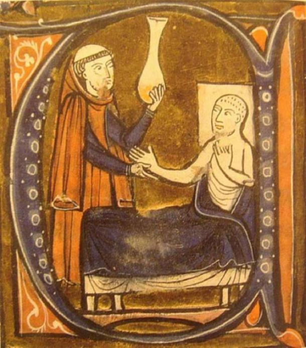 """European depiction of the Persian (Iranian) doctor Al-Razi, in Gerardus Cremonensis """"Recueil des traités de médecine"""" 1250-1260. (Public Domain)"""