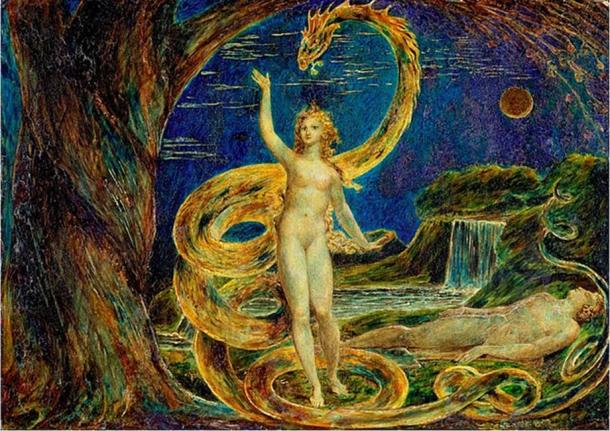 'Eve Tempted by the Serpent' (1799-1800) by William Blake. (Public Domain)