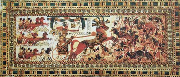 Even though there is no definitive evidence that Tutankhamun ever participated in battles, wall reliefs at Karnak Temple and numerous objects found in his tomb suggest otherwise. Here, the pharaoh is depicted destroying Syrians by firing arrows and trampling the traditional enemies under his chariot. (Egyptian Museum, Cairo. Image: Yann Forget)