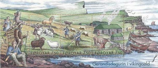 Stamps showing 'Everyday Life in the Viking Age.'