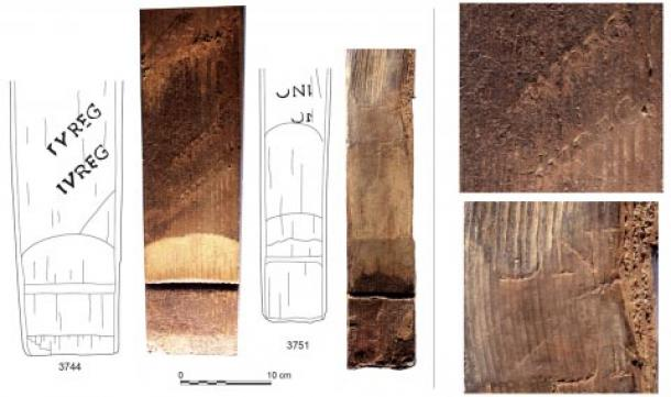 Evidence of brands and signatures on the Reim's Roman wine barrels. (J.-J. Bigot (left) ; F. Moiret (right) / Inrap)