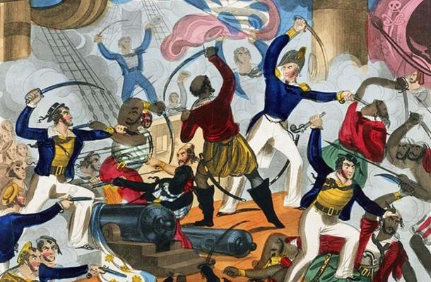 Example of British sailors fighting pirates.
