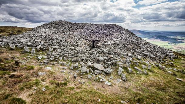 Example of a Neolithic Tomb in Ireland. This cairn is on the summit of Seefin Mountain, County Wicklow, Ireland