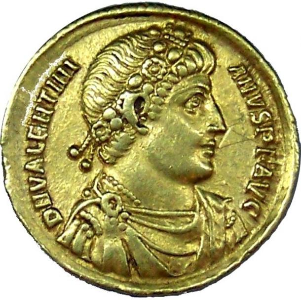Example of a Roman gold coin. This specific coin is part of the Roman collection at the Yorkshire Museum.