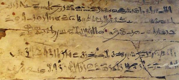 """Example of a scribe's exercise tablet with hieratic text. Wood. Dynasty XVIII, reign of Amenhotep I, c. 1514-1493 BC. Text is an excerpt from 'The Instructions of Amenemhat' (Dynasty XII) and reads: """"Be on your guard against all who are subordinate to you ... Trust no brother, know no friend, make no intimates."""" (David Liam Moran/CC BY SA 3.0)"""