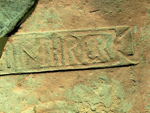 Example of an ancient Roman stamp on an hypocaust brick, used by the third cohort of Roman citizens from Thrace. (Wolfgang Sauber/CC BY SA 3.0) Excavators found that Medieval warehouses on the island were built with reused Roman bricks.