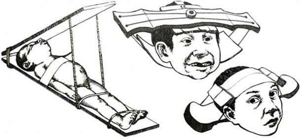 Example of methods used by the Mayan people to shape a child's head.