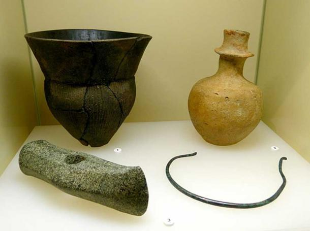 Example of some Stone Age Funnelbeaker culture artifacts at Archaeological Museum of the state of Brandenburg.