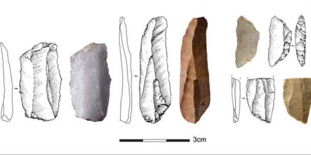 Examples of Howiesons Poort stone tools from Klipdrift Shelter. (Credits Anne Delagnes and Gauthier Devilder)