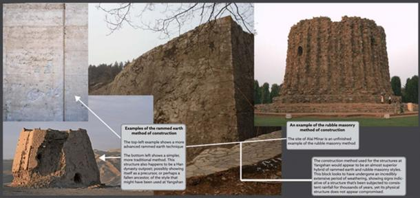 Left: Examples of the Rammed Earth Method. Right: Example of the Rubble Masonry Method
