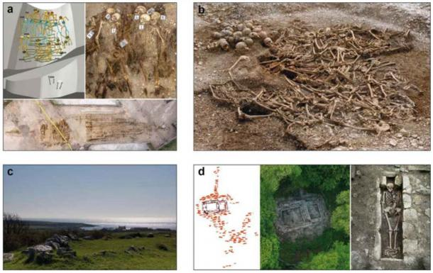 Examples of a few archaeological Viking Age sites and samples used in the study, clockwise from top left: a) Salme II ship burial site, Estonia, b) Ridgeway Hill mass grave, England, c) Balladoole ship burial, Isle of Man, d) Viking Age site in Varnhem, Sweden . (Nature)