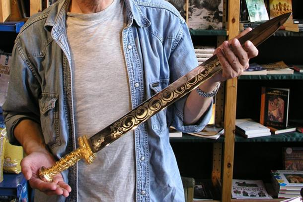 "A historical ""Excalibur."" Replica of a high-status spatha, a short Roman-style sword possessed by post-Roman British chieftains."