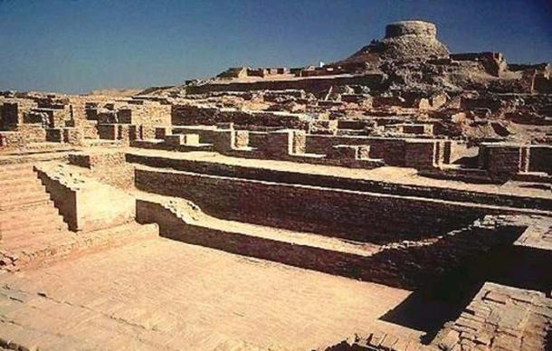 Excavated ruins of Mohenjo-daro, Sindh province, Pakistan, showing the Great Bath in the foreground.