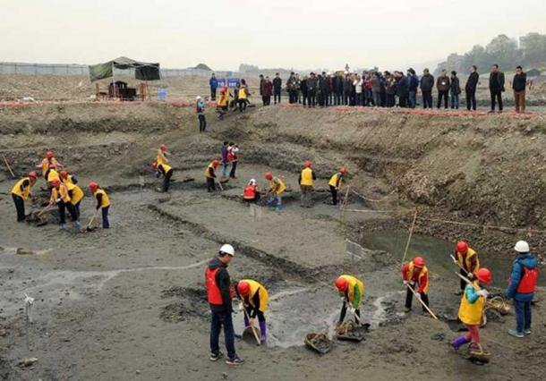 Excavating the site where the treasure was found in Sichuan, China.