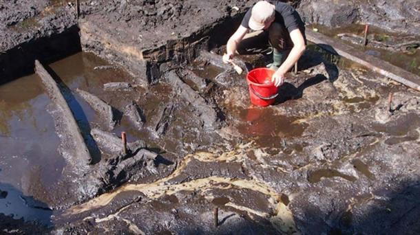 Excavating the site in Bolków, Poland.