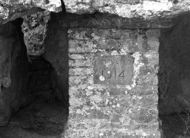 Excavation date and brick pillar
