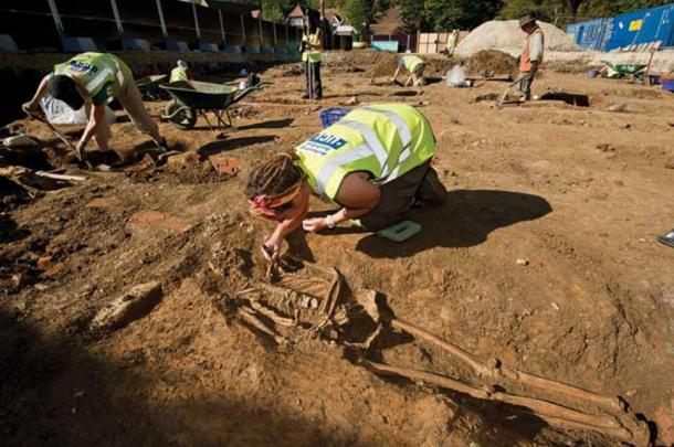 Excavation in progress on a late Medieval and early Modern cemetery site in Chichester where 1,764 burials were recorded in advance of a housing scheme.
