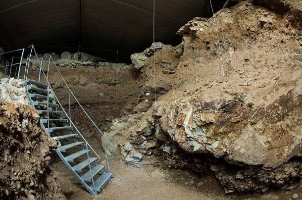 Excavation in the cave Divje Babe I, where the Neanderthal flute was found