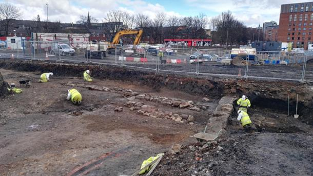 Excavation of Partick Castle walls and ditch.
