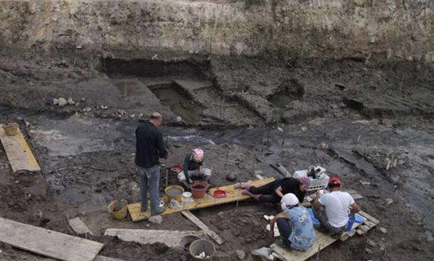 Excavation site at Poggetti Vecchi, Italy, where the implements were found.