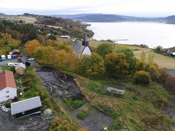 Excavation site was adjacent to the Steine Church, Trondheim, Norway. (Image: Raymond Sauvage, NTNU University Museum.