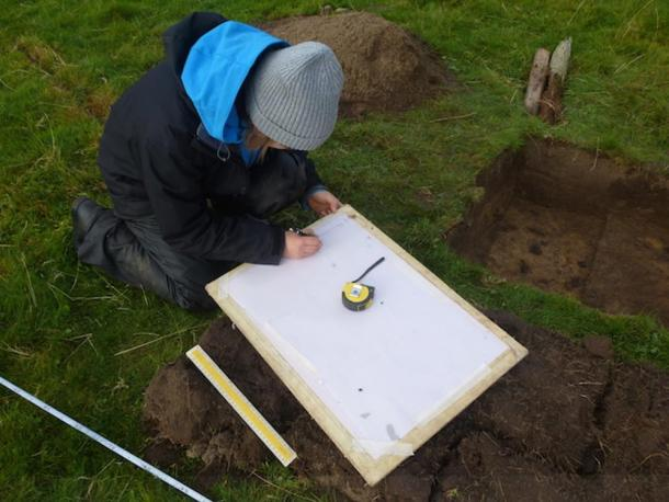 Excavationist working at the excavation site on the Isle of Coll.