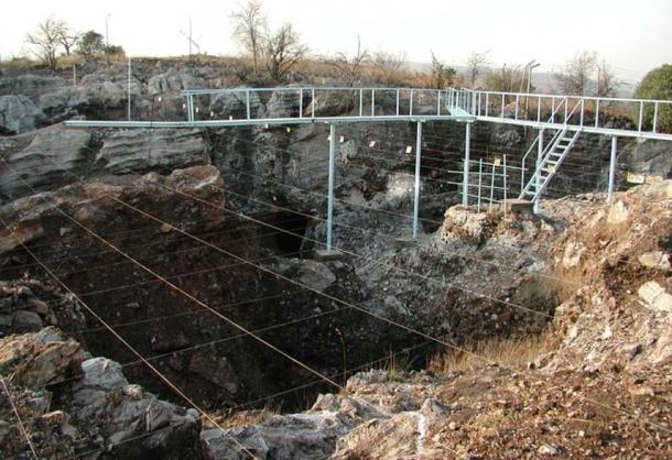 Excavations at Sterkfontein. This area contained regions of open savanna when these fossil hominins lived here.