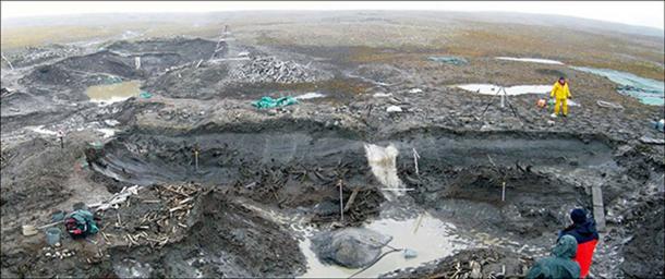Excavations at Zhokhov Island. Images: Vladimir Pitulko, Elena Pavlova