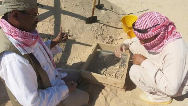 Excavations in progress at the sites on Marawah Island.
