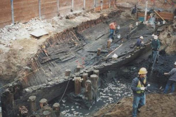 Excavations of a ship found buried in San Francisco.