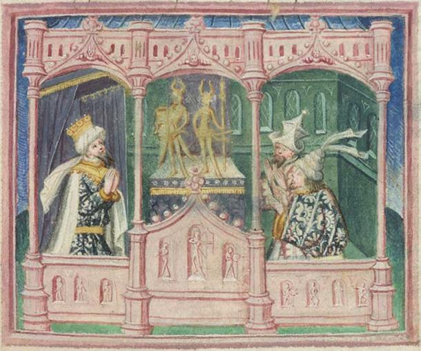 Excerpt from folio 39r of Harley MS 2278. The scene depicts Lothbrok, king of Danes, and his sons, Hinguar and Hubba, worshiping idols. (Public Domain)
