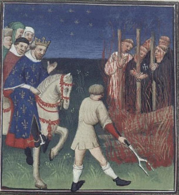 Execution of Templars in front of Philip the Fair. (Circa 1415-1420)