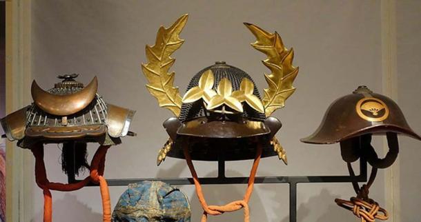 Exhibit of Samurai Helmets in the Museum of Stockholm.