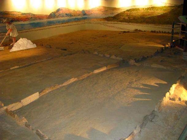 Exhibition showing salt production in Museo do Mar in Vigo, Spain.