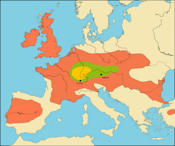 Expansion of the Celtic peoples beginning with the core La Tène culture area (from 450 BC, orange), developing over the older Hallstatt culture area (green); maximum distribution around 300 BC (brown).