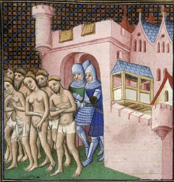 Expulsion of the inhabitants from Carcassone in 1209. Image taken from 'Grandes Chroniques de France.