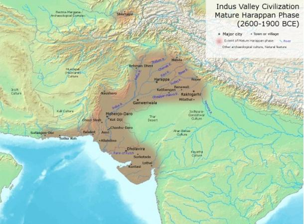Extent of the Indus Valley Civilization at its height; Rakhigarhi is to the northeast of the brown-shaded area that indicates the Harappan Civilization.