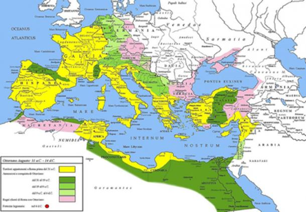 Extent of the Roman Empire under Augustus. (CC BY-SA 3.0)