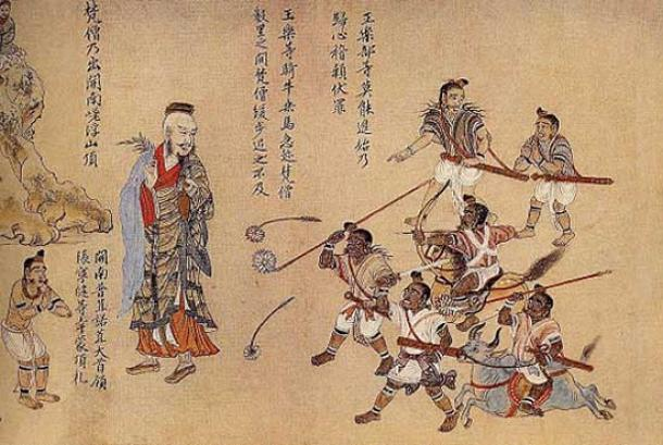 Extract of Nanzhao Tujuan scroll - the Nanzhao Buddhists are depicted as light skinned whereas the non-Buddhists are depicted as rebellious short brown people. (Public Domain)