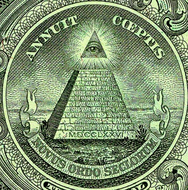 The Eye of Providence can be seen on the reverse of the Great Seal of the United States, seen here on the US $1 bill.