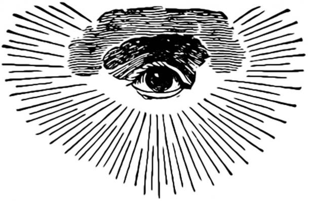 An early Masonic version of the Eye of Providence with clouds and a semi-circular glory