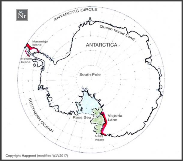 FIGURE 1:  Modern map of Antarctica indicating the section of the Ross Sea coastline, the subject of Space Archaeologist William James Veall's probing by remote sensing satellite (in red) and the extended ice-free section of the Ross Sea coastline as shown on the AD 1512 maps of Oronteus Finaeus (marked green).