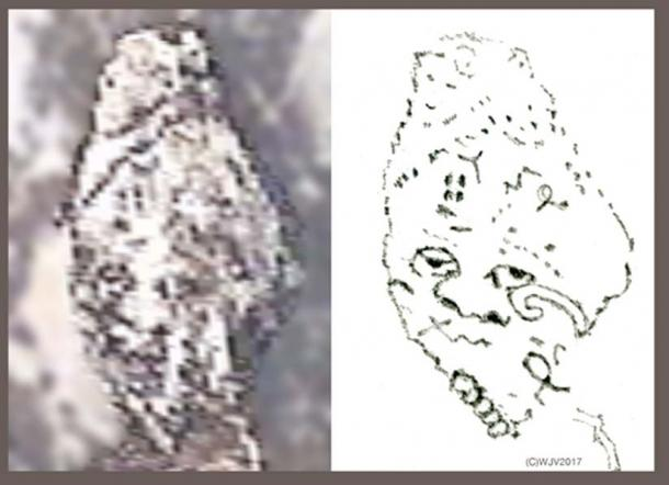 FIGURE 10 and 10a   What an amazing discovery! Carved entirely from white rock, an oval shaped human head with a round eyed, rather chilling stare marked with ancient symbols. Dots in a circle about a center point motif is typical late 13th century BC. Mycenaean. (Size 44 meters high x 33 meters width).