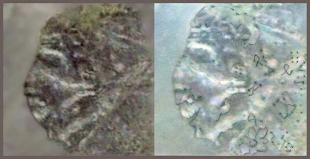 FIGURE 12 and 12a:  Fig 12 is the original untouched satellite photograph. Fig. 12a has been lightly retouched by pencil only.