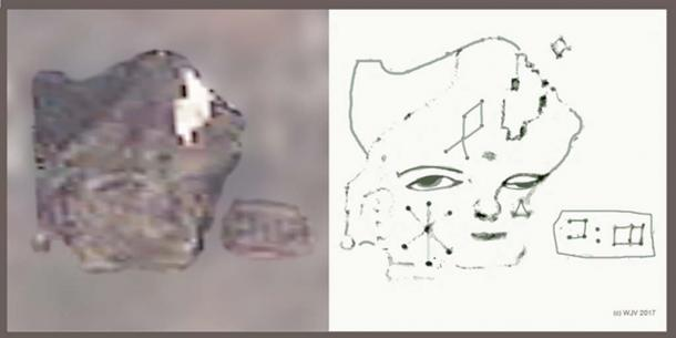 FIGURES 7 and 7a:  The very first portrait I discovered on Antarctica; this amazing figure wearing a tricorn hat is carved into a deglaciated rock surface.