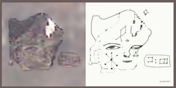 FIGURES 7 and 7a:  The very first portrait I discovered on Antarctica; this amazing figure wearing a tricorn hat is carved into a deglaciated rock surface, some 25 meters in height x 32 meters width, it features a human head, Caucasian in appearance, with gentile facial features and lightly epicanthic, expressive eyes.  The left cheek (facing) is pecked with a Cretan style 'star'; the forehead with a diamond point GIS. Beneath the right eye (facing) is a small pecked triangle. Just opposite are pecked two Linear A characters.