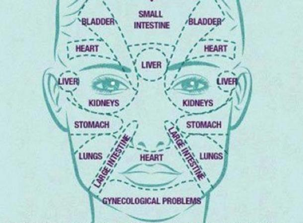 Face map showing where internal health problems may show up on the face as redness or irritation.